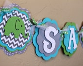 NAME or  IT'S A BOY Banner Elephant Chevron Stripe Polka Dot Lime Green Turquoise and Gray Baby Shower Birthday Party Decorations Banner