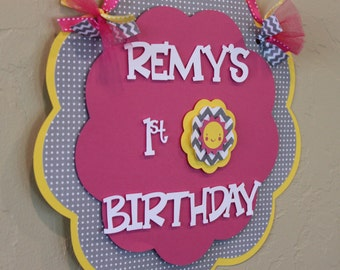 You Are My Sunshine Hot Pink Yellow Gray Chevron Stripe Polka Dot Birthday Name Age Welcome Sign Shabby Chic Party Decorations Baby Shower