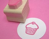 Mini Cupcake with a cherry on top- hand carved rubber stamp by skullandcrossbuns