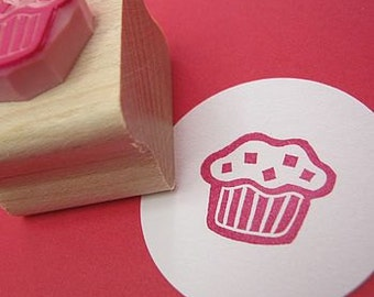 Cupcake Stamp - Mini Chunky Chocolate Chip Muffin Hand Carved Rubber Stamp - Food Gift - Muffin Gift - Gift for Foodie - Sweet Lover