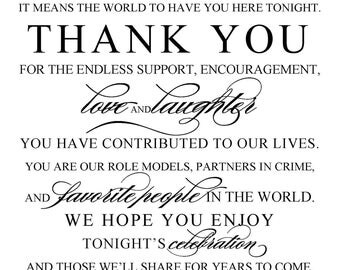 DIY Printable Wedding Sign - Thank You, Wedding and Event Signage - Your choice of colors - Digital Download - pdf file -S-176