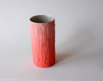 Ombre Coral Vase /   flower vase / dusty peach pink vase / concrete and glass vase