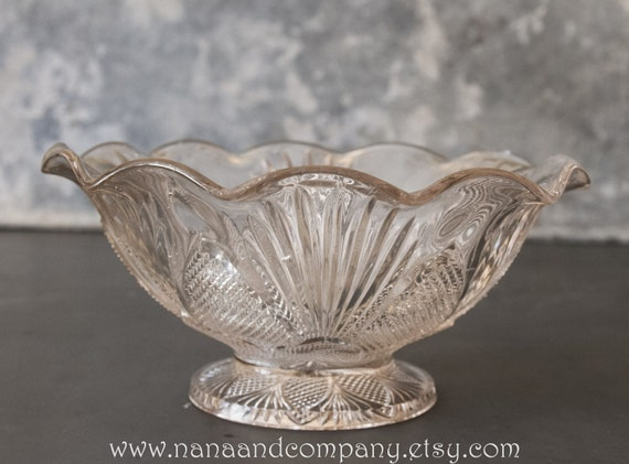 Items similar to glass bowl fluted edge pedestal base for Fluted pedestal base