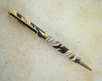 Polymer Clay Pen - Jungle Leaves Pattern No. 148