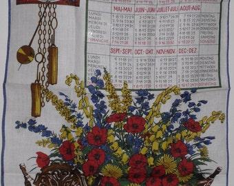 Vintage Linen Kreier Calendar Towel 1978 Unused Kitchen Towel