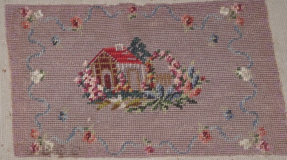 Vintage Finished Needlepoint Home Sweet Home