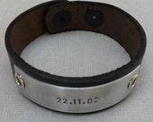 Personalized Leather Bracelet Custom Bracelet Men's Women's Leather Bracelet Customized