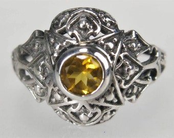 Beautiful Art Deco Genuine Citrine Filigree Sterling Silver Vintage Ring