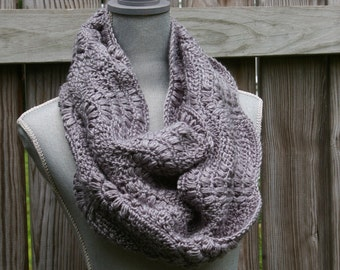 Infinity Scarf Circle Scarf in Light Grey Hand Crocheted