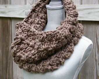 The Cozy Cowl Scarf, Infinity Scarf in Granite Brown Grey Hand Crocheted