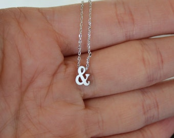 Tiny Silver Ampersand Necklace...Small & Necklace...Monogram jewelry...minimalist bridal party jewelry gift idea birthday