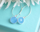 Modern Blue Chalcedony Gemstone Dangle Earrings