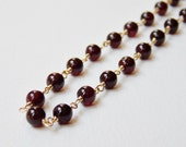 Garnet Bead Necklace - Gold Filled Rosary Necklace Beaded Necklace Beadwork Necklace Oxblood Red - VeronicaRussekJoyas