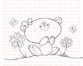 Butterfly Bear Digital Stamp for Card Making