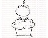 Cupcake Frog Digital Stamp for Card Making