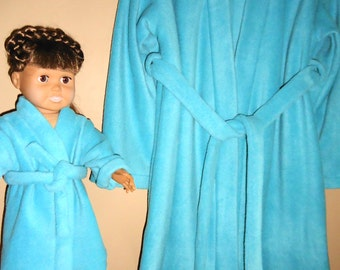 "Girls bathrobe size 5 and matching robe for 18"" doll in fleece"