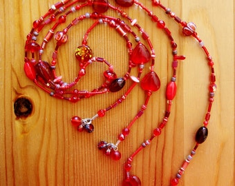 Long lariat, red lariat, long red necklace, beaded necklace, long boho lariat, boho chic necklace, long hippie lariat, layering necklace