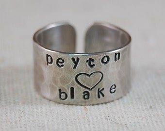 Personalized Ring Sterling Silver Mother Ring Hand Stamped Ring