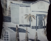 Pillow Spain Spanish villas 16 inch cushion cover blue white gray grey