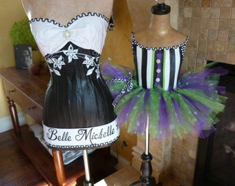 Vintage Inspired Full Size Dress Form Mannequin Black And White Fashion Jewelry Display Corset Free Ship and Layaway