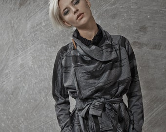 ON SALE 40% off! Japanese inspirited dark grey with black print multiway to wear top with camel leather pin - JapanSweater