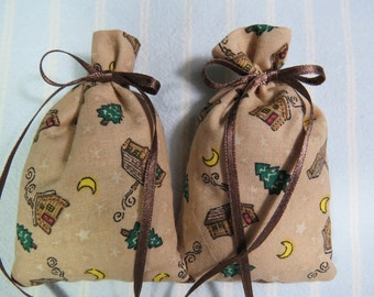 "Light Brown 4""X2"" Sachet-'Icy Blueberry' Fragrance-Brown Sachet-2 Cotton Fabric Herbal Sachets-Brown Ribbon-Cindy's Loft-284"