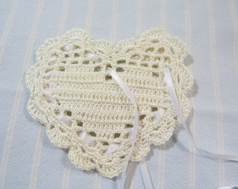 "Antique White 4""X4"" Sachet-'French Vanilla' Fragrance-Heart Sachet-Hand Crocheted Hand Blended Heart Sachet-Cotton and Satin-Cindy's Loft"