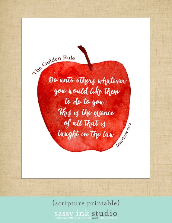 Printable wall art the golden rule printable kitchen decor for Golden rule painting