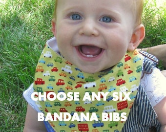 Choose Any 6  Bandana Bibs in My Shop   READY TO SHIP