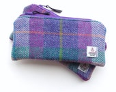 Harris Tweed pencil case, cosmetic bag, pouch in purple and pink plaid
