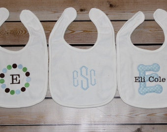 3 Personalized Bibs Gift Set Baby Boy Monogram Initial Name