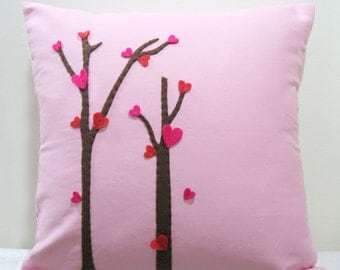 Love Trees Blossom Light Pink Pillow Cover. Girls Room Decor. Romantic Cute Throw Pillow. Unique Christmas Gift