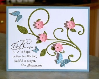 """Inspirational Religious Note Card with Die Cut Butterflies - 4.25"""" x 5.5"""" - Stampin Up Elegant Inspirations - Hand Stamped Scripture"""