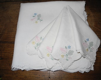Embroidered linen white and pastel tablecloth and napkin set