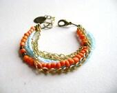 Edgy - Bohemian bracelet Boho style stacking chic orange turquoise  multiple golden chain stack  bracelet etsy fashion
