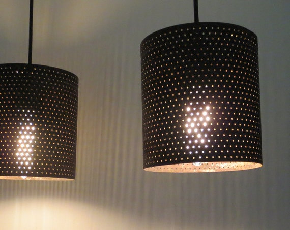 Columbia Pair Vintage Perforated Metal Pendant Pair