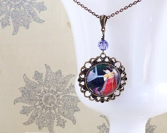 Art Pendant Necklace, India Art Necklace, Miniature Painting, Mythical Jewelry, Deer Necklace by MinouBazaar