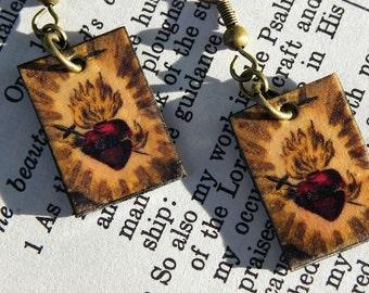 Sacred Heart Religious Catholic Dangle Earrings