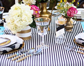 Black and White Pin Stripes table runners and wedding runners, wedding reception, Baby Shower Kate Spade inspired