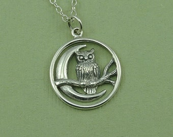 Owl Necklace - Sterling Silver Owl Jewelry, Owl Pendant, Teacher Gifts, Bird Necklace, Trendy Necklaces, Birthday Gift