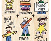 Teacher Stamp Set (6 Teacher Rubber Stamps) Hero Kids for Teacher & Parents • Encouragement • Praise • Rewards Stamp • Teacher Stamp (LL504)