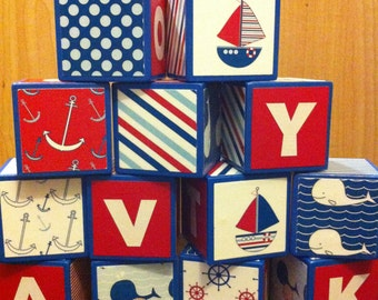 Red and Blue Nautical Building Blocks