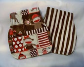 Contoured Burp Cloth in Monkey Around - Monkey Patch - Shoulder Cloth - Set of Two - Ready To Ship