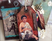 Collage Art Tag Bookmark Mixed Media Tag - Expect Miracles