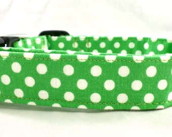 Gorgeous Green and White Polka Dot Dog Collar