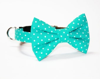 Bow Tie Dog Collar- Teal Polka Dot- Wedding Dog Bow Tie Collar