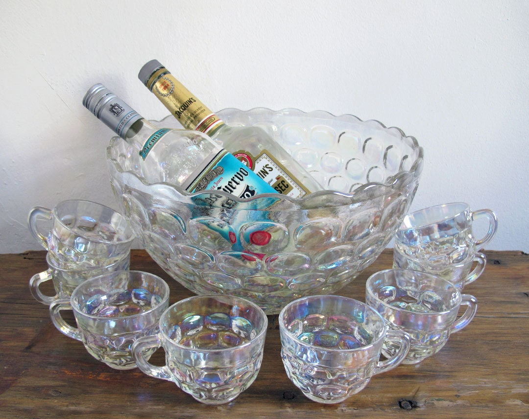 vintage iridescent punch bowl set federal glass. Black Bedroom Furniture Sets. Home Design Ideas