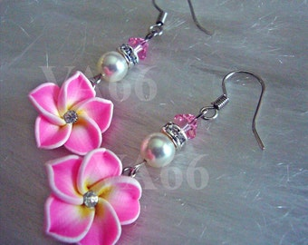 Pink Flower Earrings with Swarovski Crystals and Pearls Bridal Bridesmaids MOB, Flower Girl, Prom, Birthday