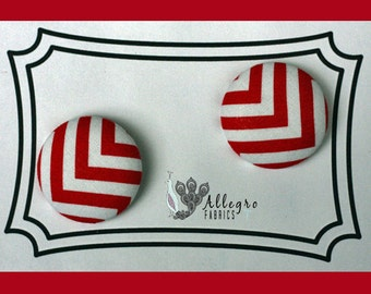 Large Fabric Covered Buttons Button Set of 2 Novelty Red and White CHEVRON Zig Zag Remix Robert Kaufman