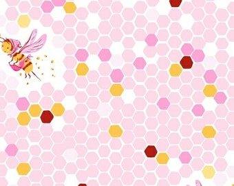Briar Rose Heather Ross Fabric Whimsical Bumble Bee Hex Honey Comb Hive on Pink HTF OOP